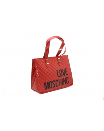 LOVE MOSCHINO - Borsa shopping in pelle trapuntata - Rosso