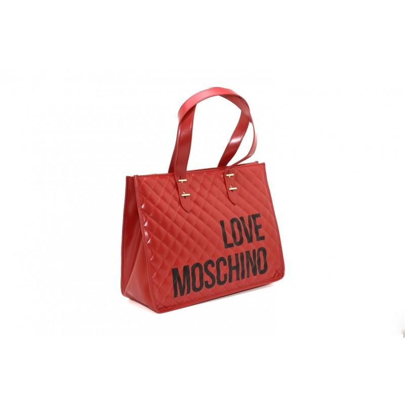 LOVE MOSCHINO - Borsa shopping in pelle trapuntata - Rosso