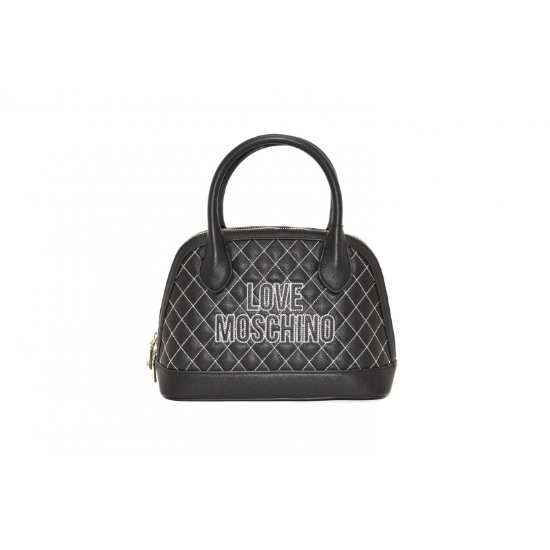LOVE MOSCHINO - Quilted ecolether Baule bag - Black/White
