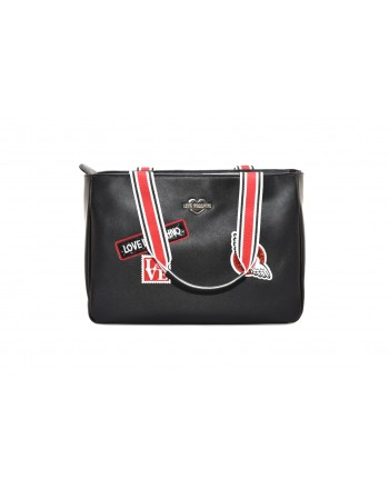LOVE MOSCHINO - Ecolether bag with patch - Black