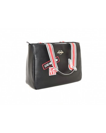 LOVE MOSCHINO - Borsa in ecopelle con patch - Nero