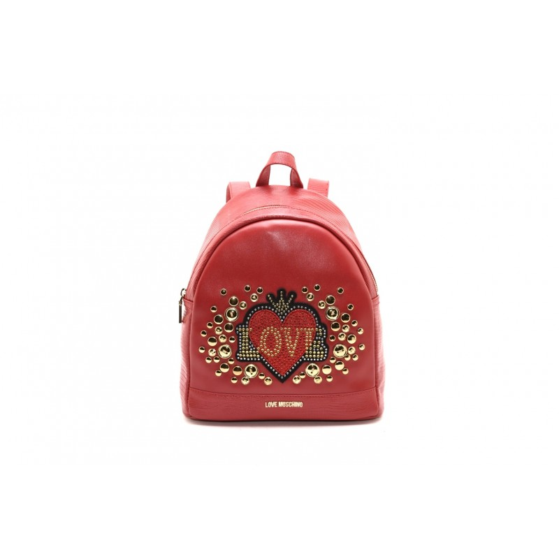 LOVE Moschino - Ecolether backpack with studs - Red