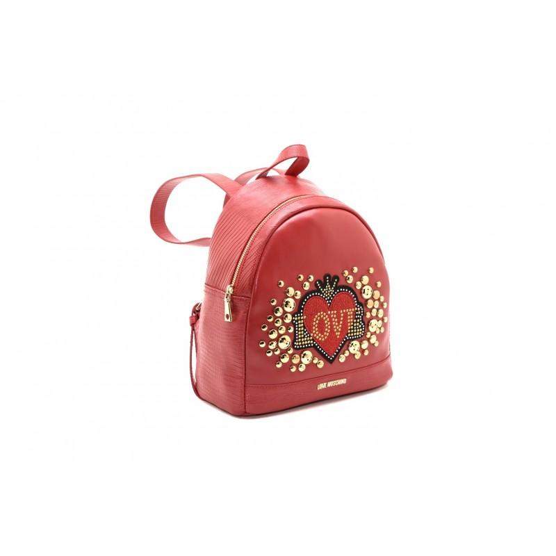 LOVE MOSCHINO - Zaino in ecopelle con borchie - Rosso