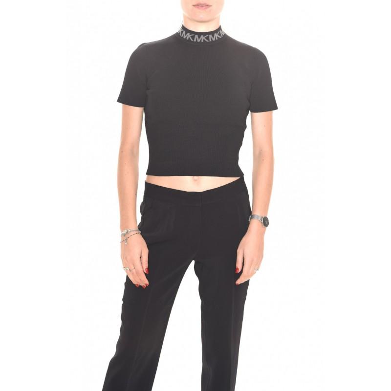 MICHAEL by MICHAEL KORS - Viscose Neckline Logo Knit - Black