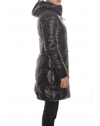 SAVE THE DUCK - Padded Coat with Hood and Logo on Sleeve - Black