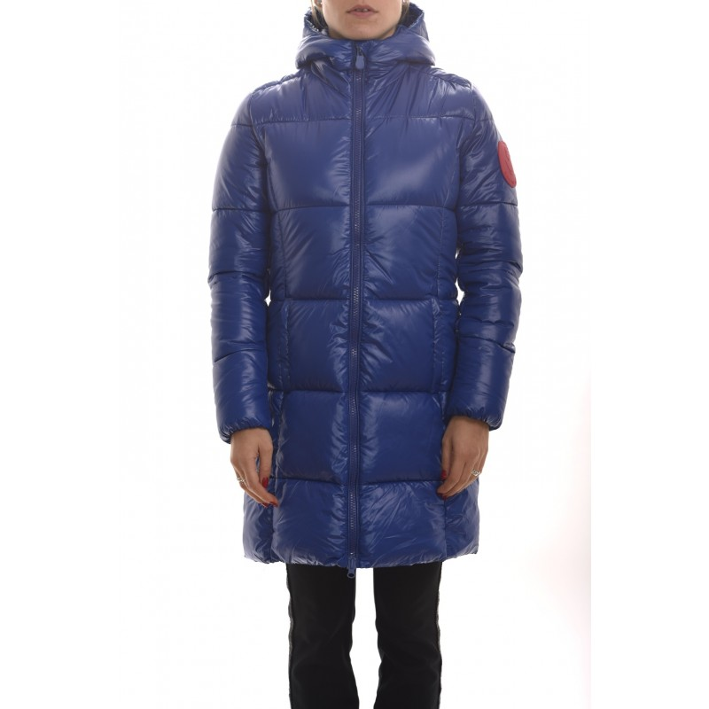 SAVE THE DUCK - Padded Coat with Hood and Logo on Sleeve - Blue