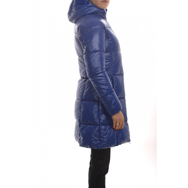 SAVE THE DUCK - Cappotto Imbottito con Cappuccio e Logo Manica Blu