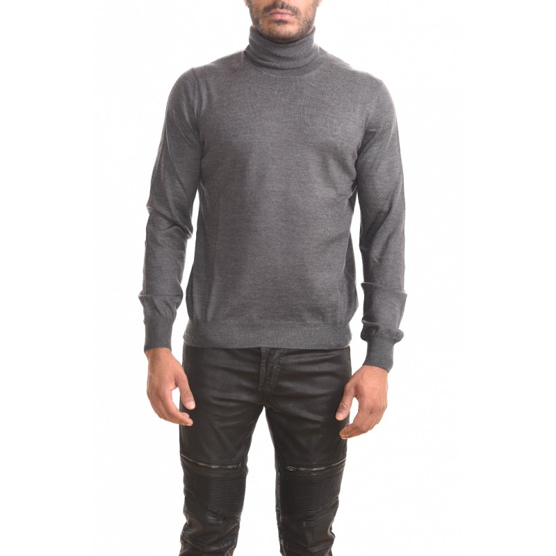 FAY - High neck sweater in wool - Grey