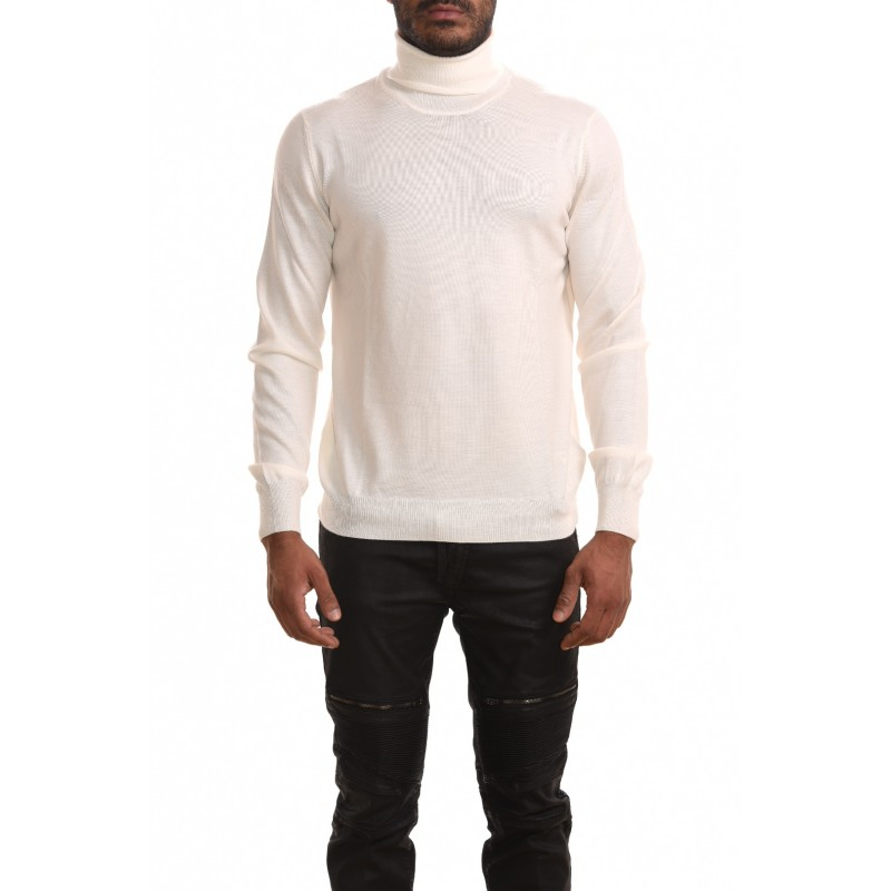 FAY - High neck sweater in wool - White