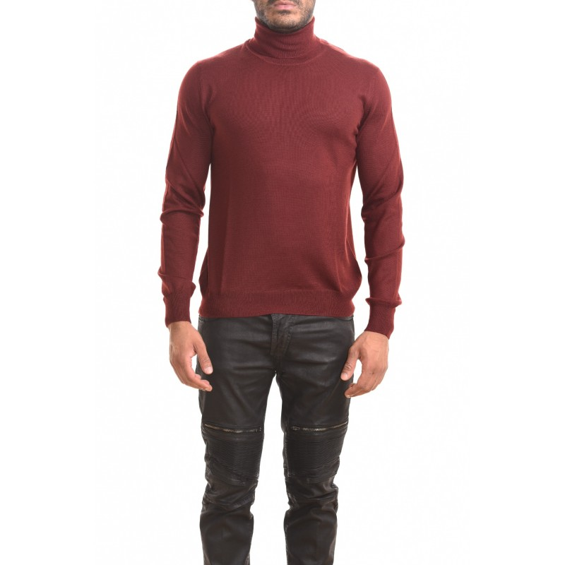 FAY - High neck sweater in wool - Bordeaux