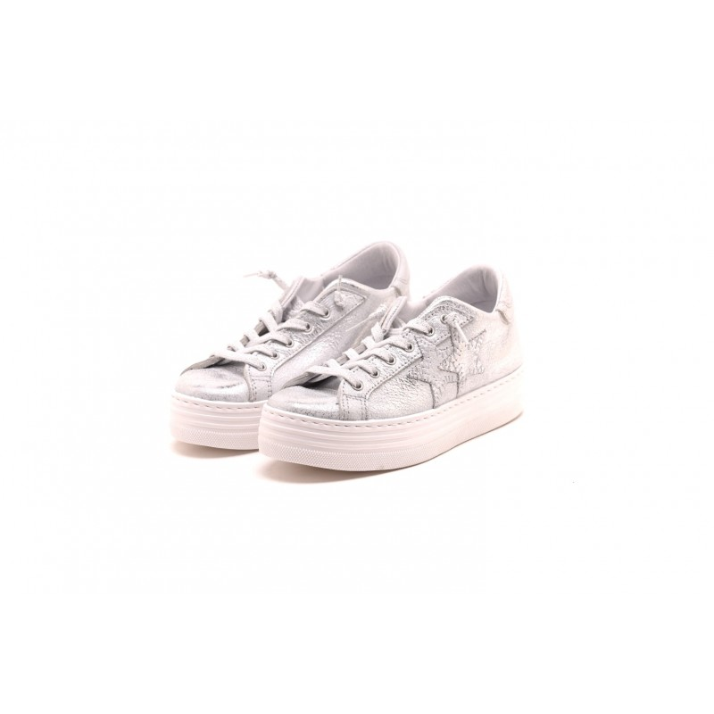 2 STAR - Sneakers LOW ARGENTO in pelle - Silver