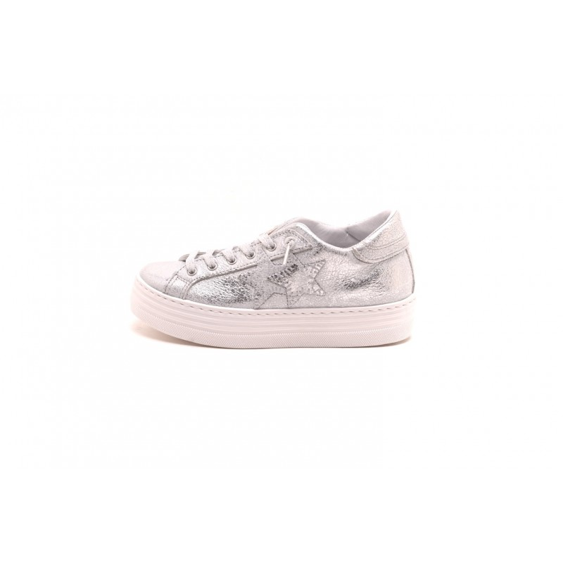 2 STAR - LOW SILVVER Leather sneakers - Silver