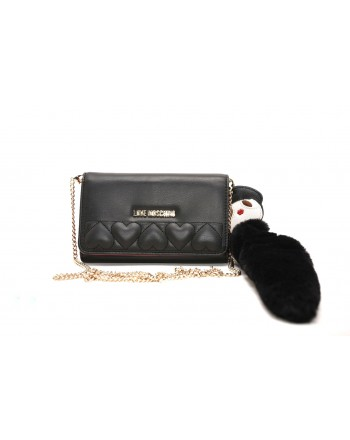 LOVE MOSCHINO - Ecologic Fur Charm Purse - Black