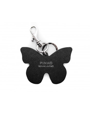 PINKO - FARFALLA ELGAR Keychain in leather - Black/White/Red