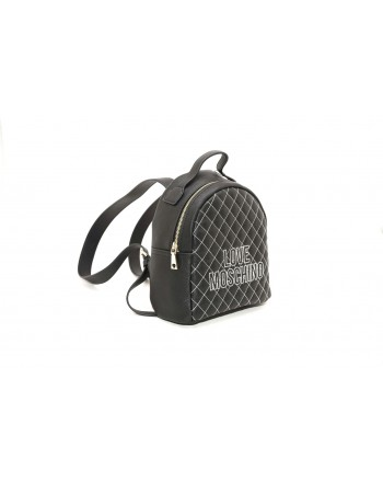 LOVE MOSCHINO - Quilted ecoleather backpack - Black/White