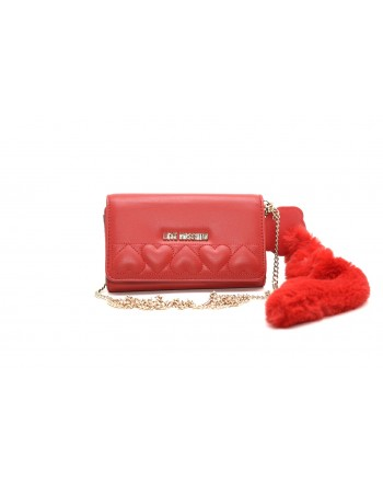 LOVE MOSCHINO - Ecologic Fur Charm Purse - Red