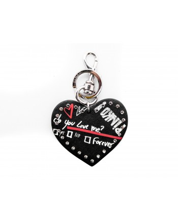 PINKO - CUORE DIVITAS Keychain in leather - Black/White/Red