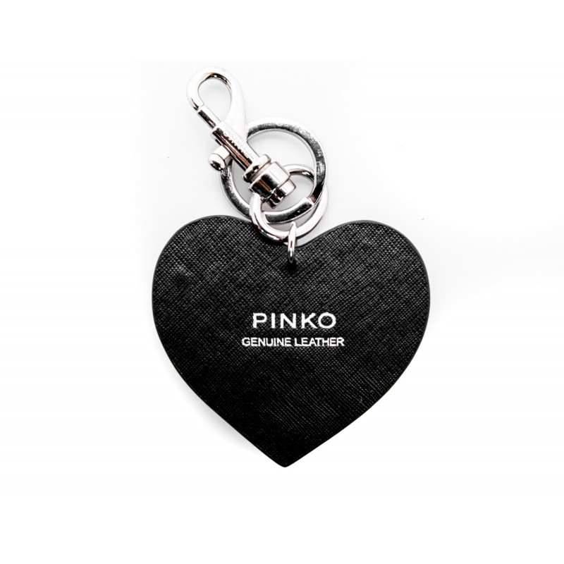 PINKO - Portachiavi CUORE DIVITAS in pelle - Nero/Bianco/Rosso