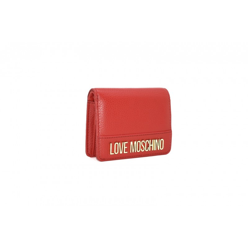 LOVE MOSCHINO - Leather wallet with logo - Red