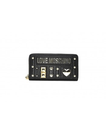 LOVE MOSCHINO - Leather wallet with studs - Black