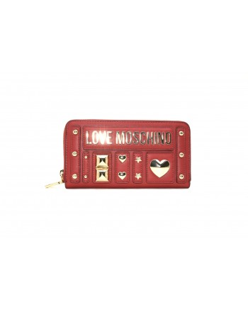 LOVE MOSCHINO - Leather wallet with studs - Red