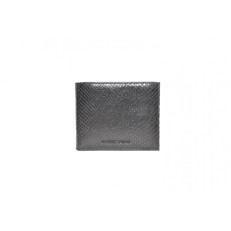 EMPORIO ARMANI - Snake print leather wallet - Black
