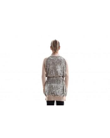 PINKO - GRANCHE Cardigan Knit with Paillettes Details - Platinum