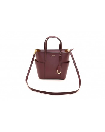 POLO RALPH LAUREN - Borsa Tote Mini - Bordeaux/Brown