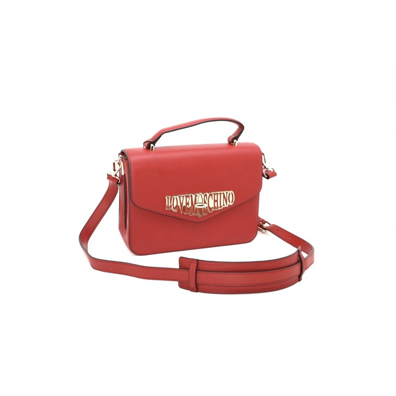 LOVE MOSCHINO - Ecoleather Bag with Logo- Red