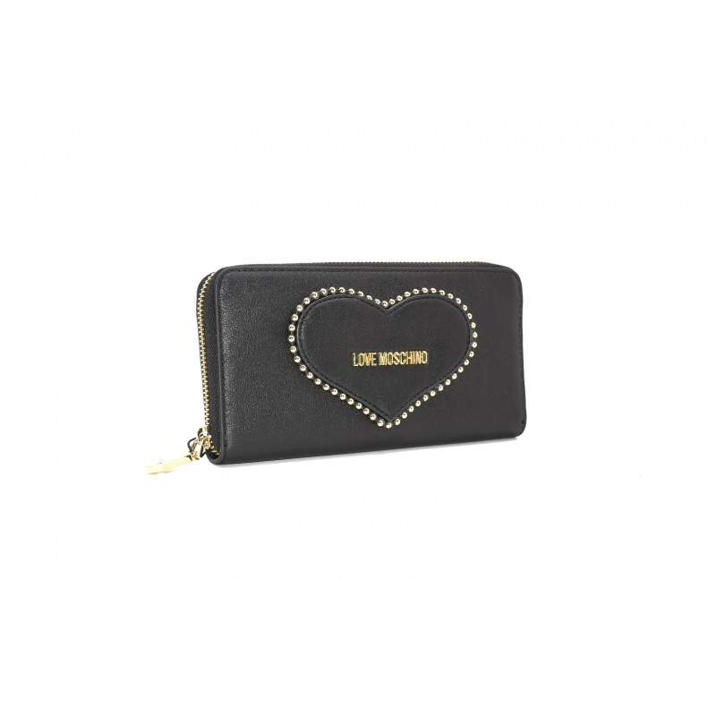 LOVE MOSCHINO - Zip Around Heart Wallet - Black
