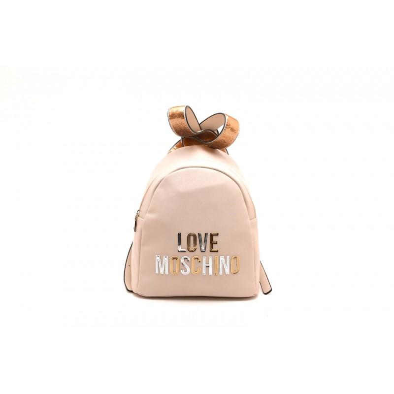LOVE MOSCHINO - Zaino con stampa Logo in rilievo - Avorio